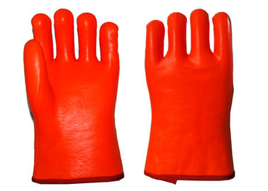 3 Layers Liner PVC Coated Work Gloves , Thermal Waterproof Gloves Smooth Finished