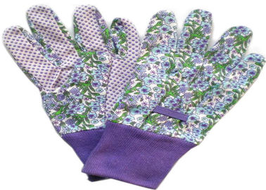 Purple Printed Working Hands Gloves Polar PVC Dots For Women Gardening